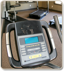 A picture taken from our 1,100 sq. ft. fitness center located inside the clubhouse.